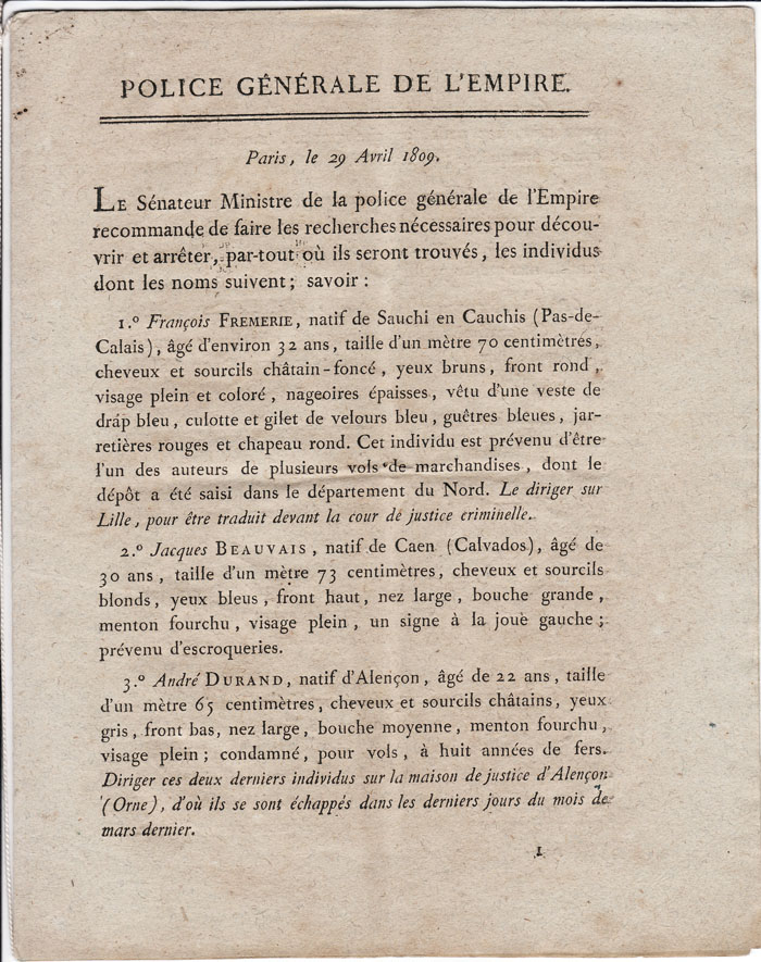 NAPOLEON Ier – Documents Imprimés